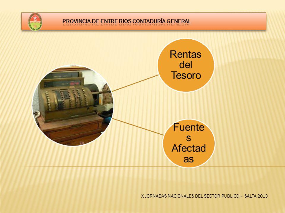X JORNADAS NACIONALES DEL SECTOR PUBLICO – SALTA 2013 Rentas del Tesoro Fuente s Afectad as