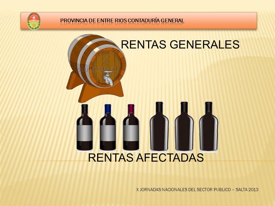 X JORNADAS NACIONALES DEL SECTOR PUBLICO – SALTA 2013 RENTAS GENERALES RENTAS AFECTADAS
