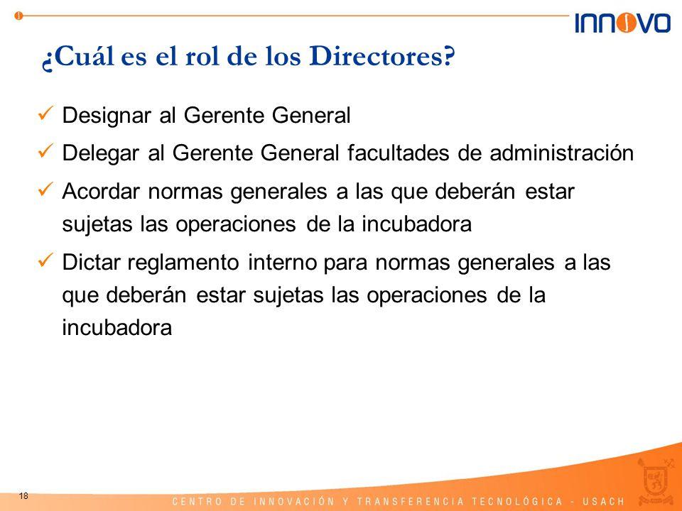 18 ¿Cuál es el rol de los Directores? Designar al Gerente General Delegar al Gerente General facultades de administración Acordar normas generales a l