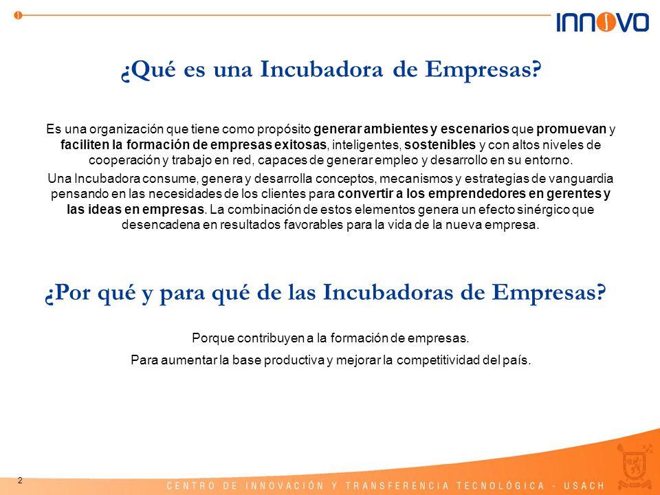 3 Programa Nacional de Incubación INNOVA-CHILE Orientado a la generación de condiciones adecuadas para el desarrollo de los proyectos, a la búsqueda de socios y potenciales compradores de los productos o servicios, a facilitar el acceso a fuentes de financiamiento y a fortalecer la capacidad emprendedora en el país.