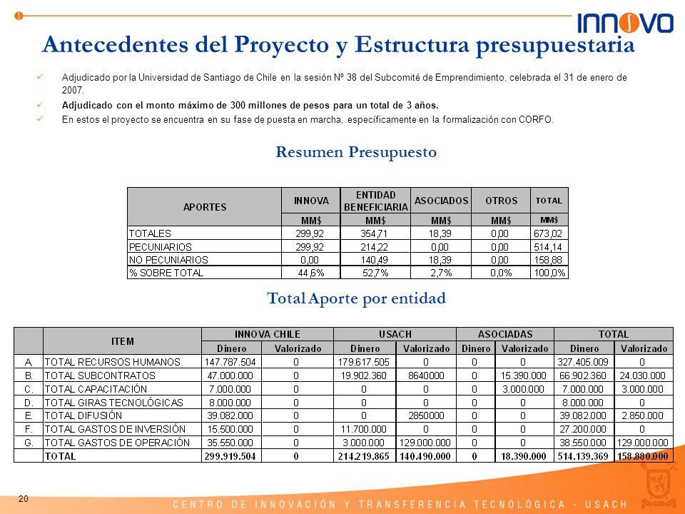 20 Antecedentes del Proyecto y Estructura presupuestaria Total Aporte por entidad Resumen Presupuesto Adjudicado por la Universidad de Santiago de Chi