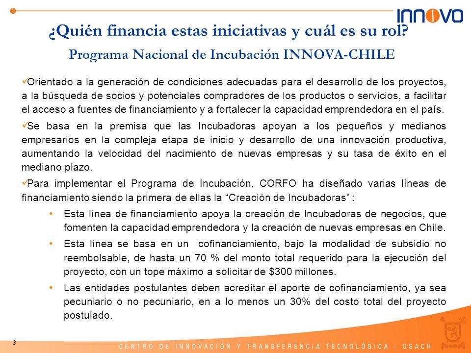 3 Programa Nacional de Incubación INNOVA-CHILE Orientado a la generación de condiciones adecuadas para el desarrollo de los proyectos, a la búsqueda d