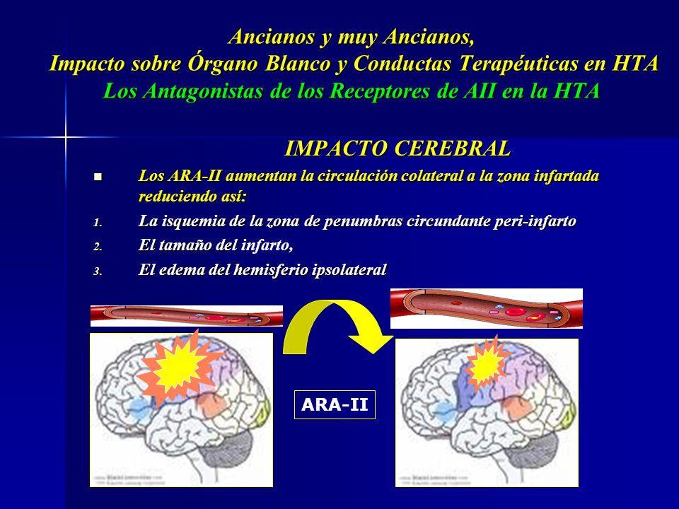 Ancianos y muy Ancianos, Impacto sobre Órgano Blanco y Conductas Terapéuticas en HTA Los Antagonistas de los Receptores de AII en la HTA IMPACTO CEREB