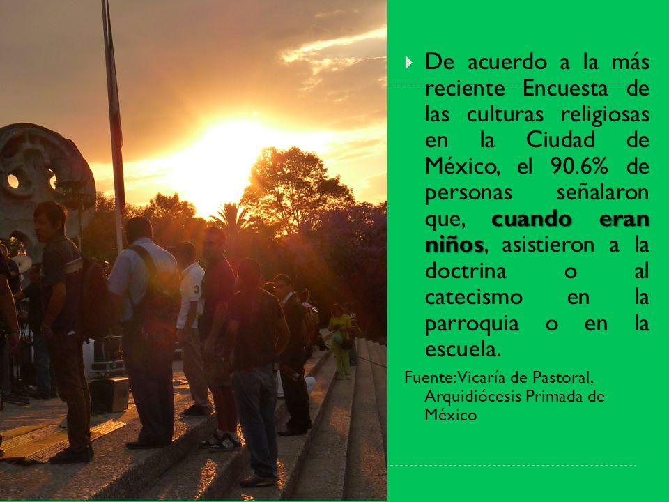 cuando eran niños De acuerdo a la más reciente Encuesta de las culturas religiosas en la Ciudad de México, el 90.6% de personas señalaron que, cuando eran niños, asistieron a la doctrina o al catecismo en la parroquia o en la escuela.