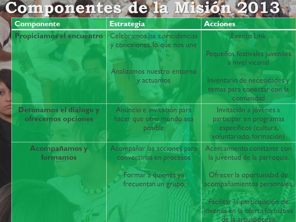 Componentes de la Misión 2013 ComponenteEstrategiaAcciones Propiciamos el encuentroCelebramos las coincidencias y conexiones, lo que nos une Analizamo