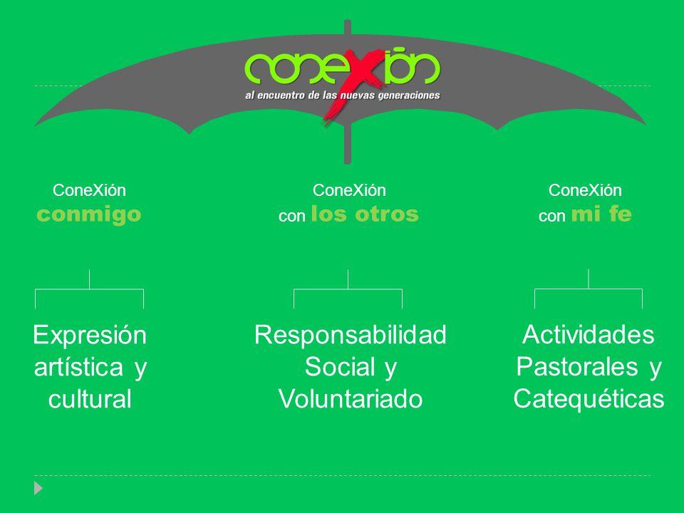 ConeXión conmigo ConeXión con los otros ConeXión con mi fe Expresión artística y cultural Responsabilidad Social y Voluntariado Actividades Pastorales y Catequéticas