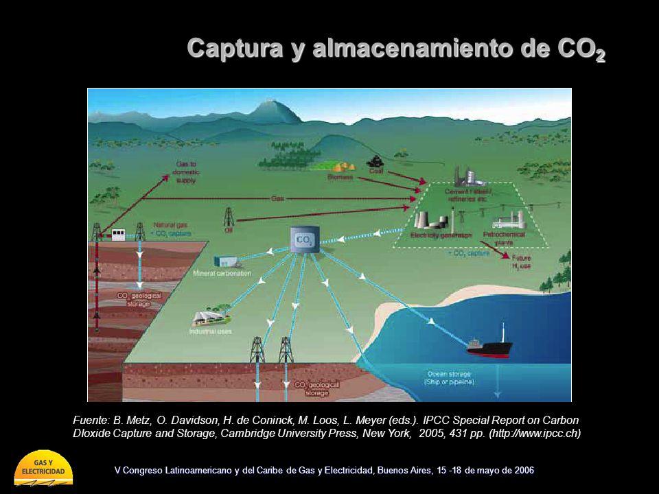 V Congreso Latinoamericano y del Caribe de Gas y Electricidad, Buenos Aires, 15 -18 de mayo de 2006 Captura y almacenamiento de CO 2 Fuente: B. Metz,
