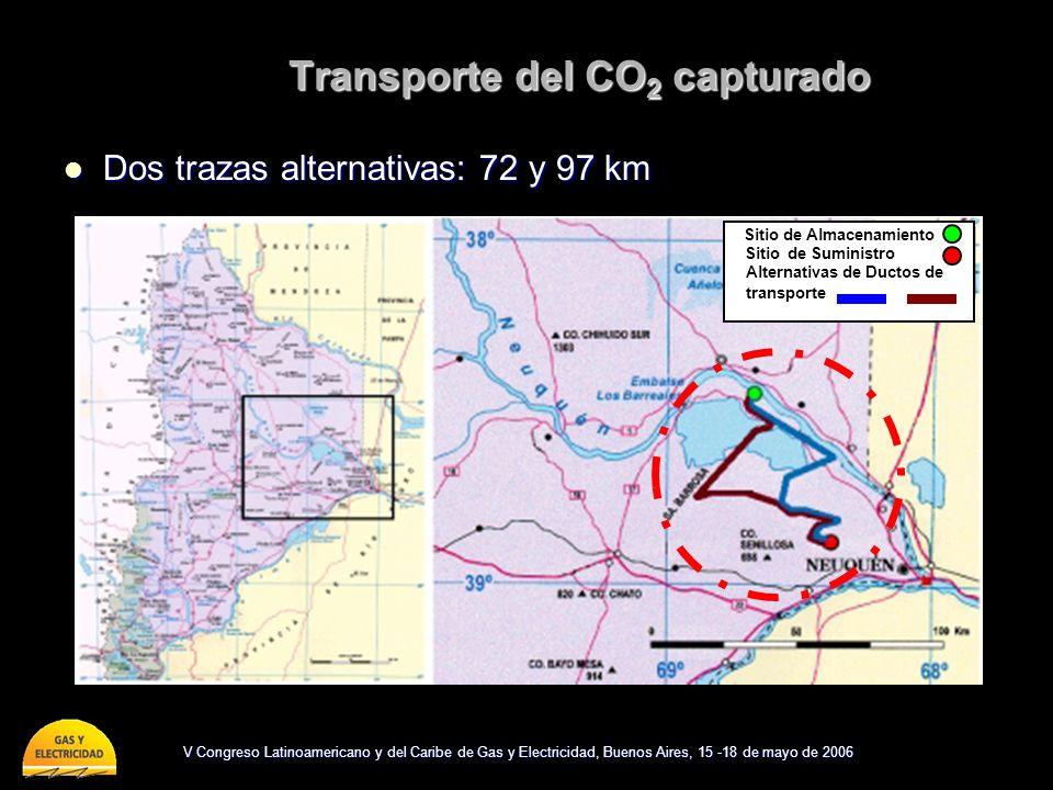 V Congreso Latinoamericano y del Caribe de Gas y Electricidad, Buenos Aires, 15 -18 de mayo de 2006 Transporte del CO 2 capturado Dos trazas alternati
