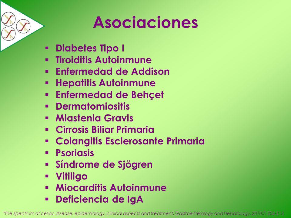 Asociaciones Diabetes Tipo I Tiroiditis Autoinmune Enfermedad de Addison Hepatitis Autoinmune Enfermedad de Behçet Dermatomiositis Miastenia Gravis Ci