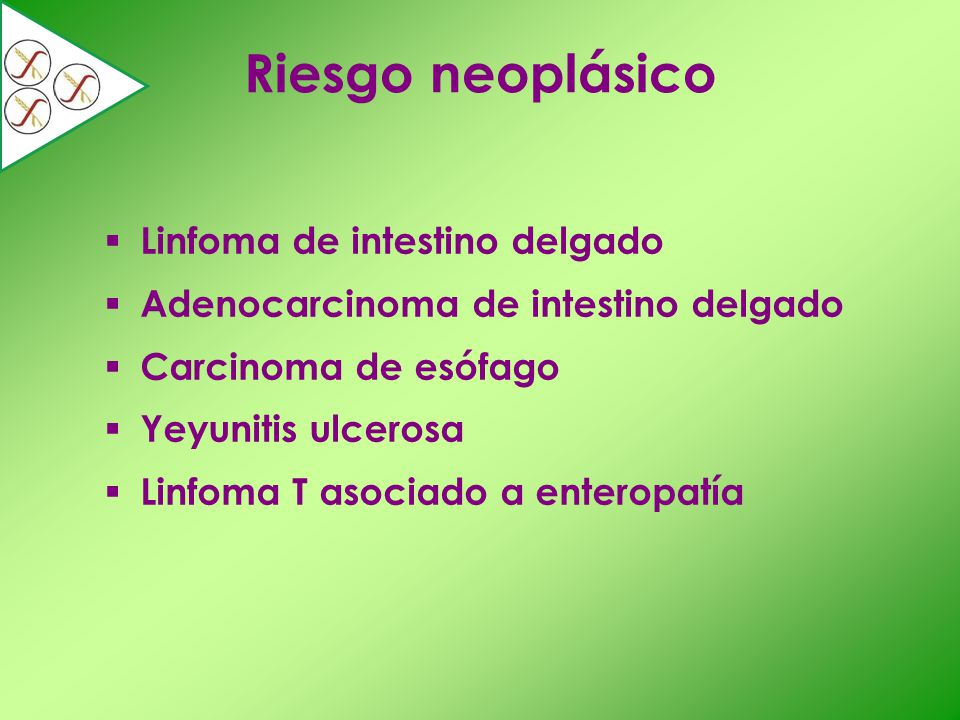 Riesgo neoplásico Linfoma de intestino delgado Adenocarcinoma de intestino delgado Carcinoma de esófago Yeyunitis ulcerosa Linfoma T asociado a entero