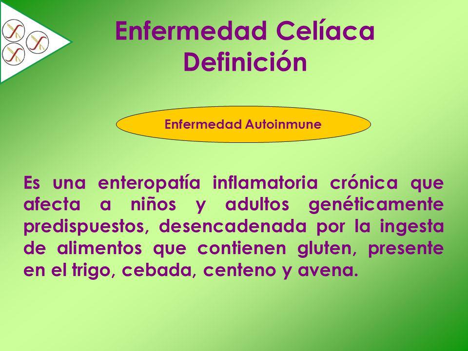 Epidemiología Distribución bimodal: en los primeros años de vida y en la 4ta o 5ta década Relación mujer: hombre 2:1 Subdiagnóstico 7 enfermos celíacos no diagnosticados por cada 1 enfermo celíaco