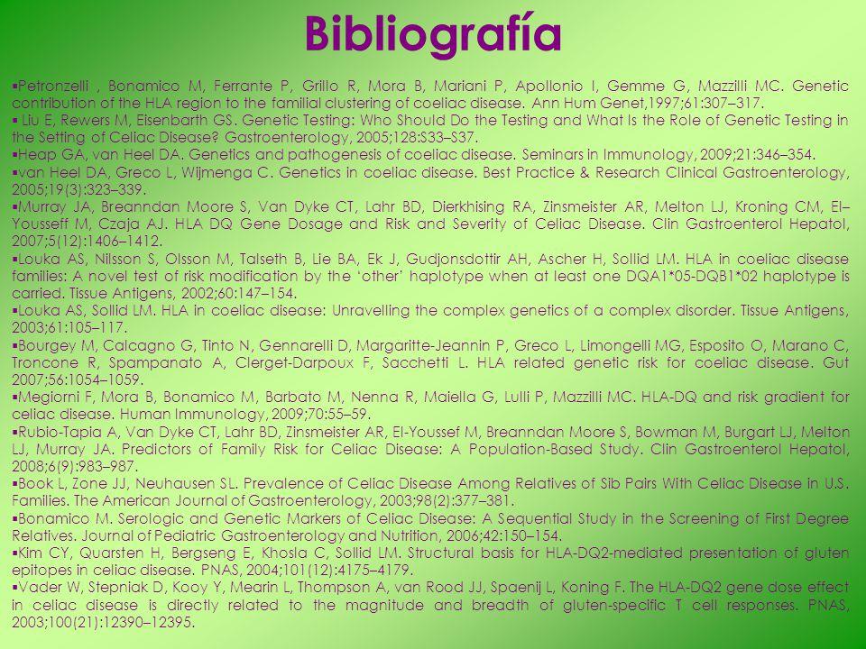 Bibliografía Petronzelli, Bonamico M, Ferrante P, Grillo R, Mora B, Mariani P, Apollonio I, Gemme G, Mazzilli MC. Genetic contribution of the HLA regi