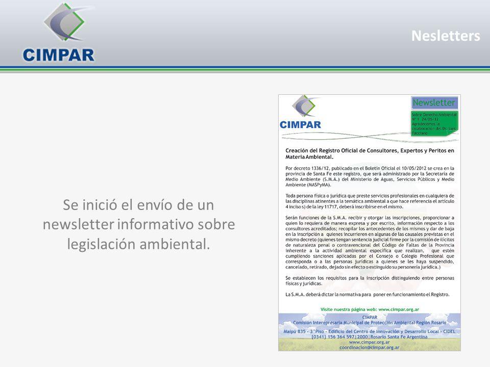 Se inició el envío de un newsletter informativo sobre legislación ambiental. Nesletters