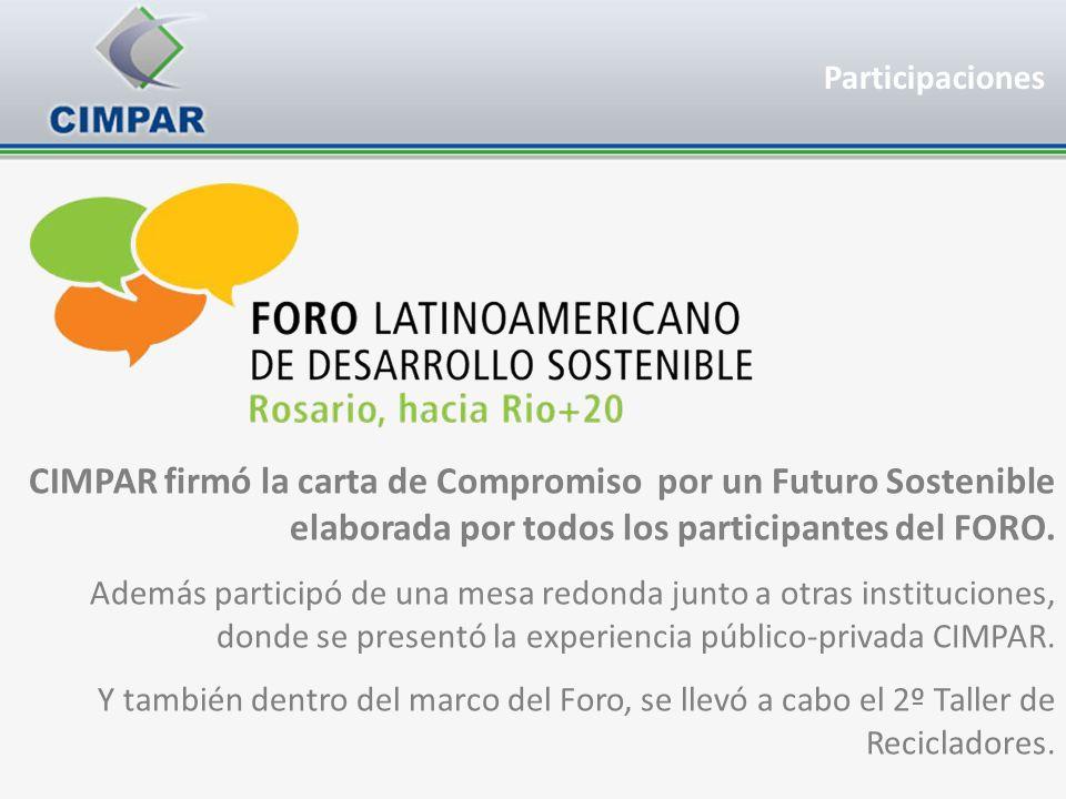 CIMPAR firmó la carta de Compromiso por un Futuro Sostenible elaborada por todos los participantes del FORO. Además participó de una mesa redonda junt