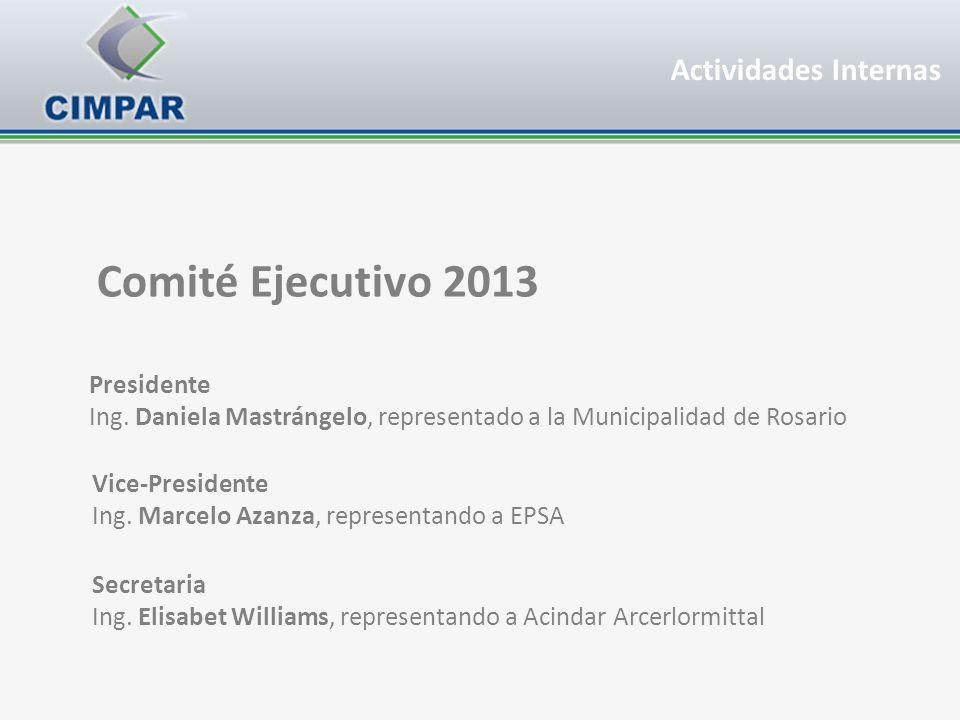 Actividades Internas Presidente Ing. Daniela Mastrángelo, representado a la Municipalidad de Rosario Vice-Presidente Ing. Marcelo Azanza, representand