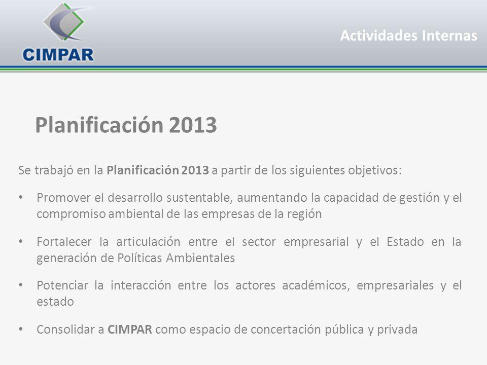 Planificación 2013 Se trabajó en la Planificación 2013 a partir de los siguientes objetivos: Promover el desarrollo sustentable, aumentando la capacid