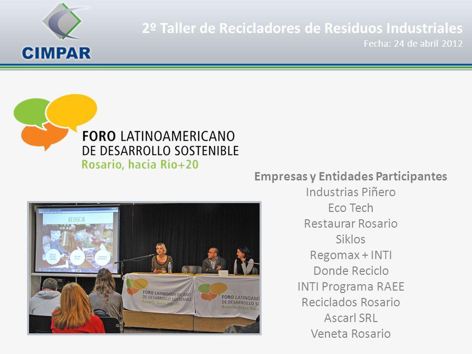 2º Taller de Recicladores de Residuos Industriales Fecha: 24 de abril 2012 Empresas y Entidades Participantes Industrias Piñero Eco Tech Restaurar Ros