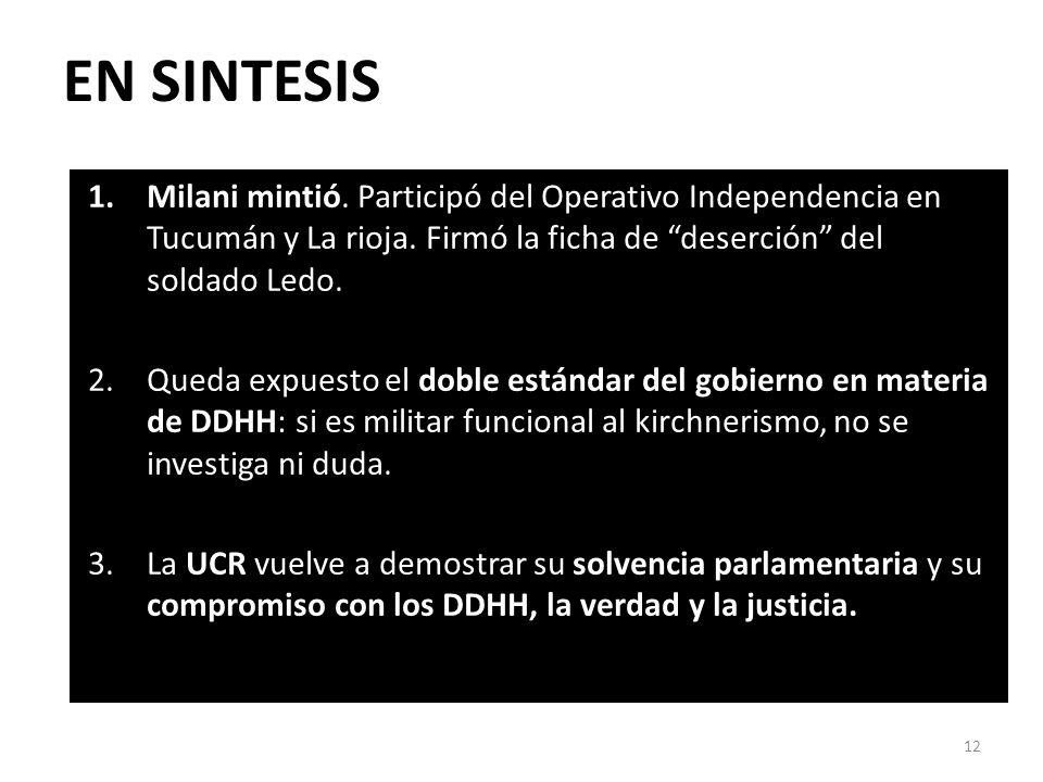 EN SINTESIS 1.Milani mintió. Participó del Operativo Independencia en Tucumán y La rioja.