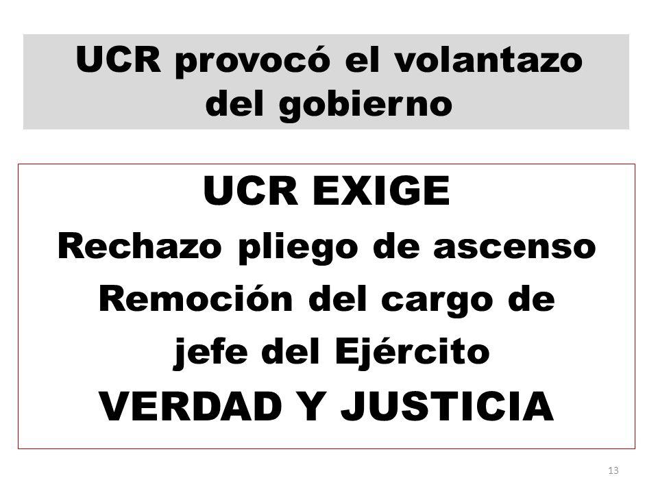 UCR EXIGE Rechazo pliego de ascenso Remoción del cargo de jefe del Ejército VERDAD Y JUSTICIA 13 UCR provocó el volantazo del gobierno