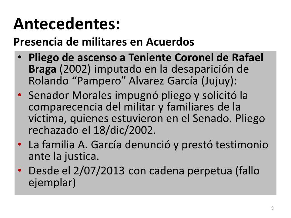 Antecedentes: Presencia de militares en Acuerdos Pliego de ascenso a Teniente Coronel de Rafael Braga (2002) imputado en la desaparición de Rolando Pampero Alvarez García (Jujuy): Senador Morales impugnó pliego y solicitó la comparecencia del militar y familiares de la víctima, quienes estuvieron en el Senado.