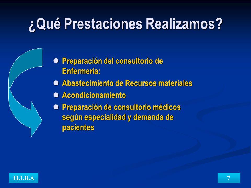 ¿Qué Prestaciones Realizamos? H.I.B.A7 Preparación del consultorio de Enfermería: Abastecimiento de Recursos materiales Acondicionamiento Preparación