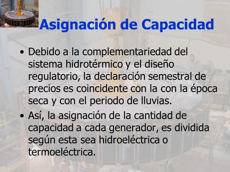Asignación de Capacidad Debido a la complementariedad del sistema hidrotérmico y el diseño regulatorio, la declaración semestral de precios es coincid