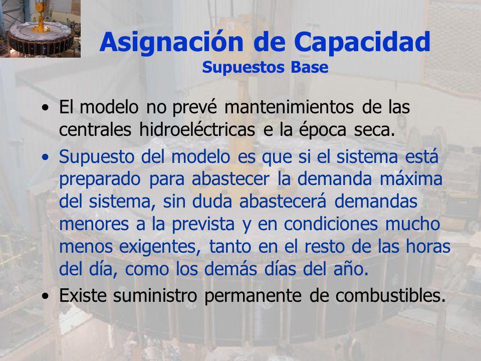 Asignación de Capacidad Supuestos Base El modelo no prevé mantenimientos de las centrales hidroeléctricas e la época seca. Supuesto del modelo es que