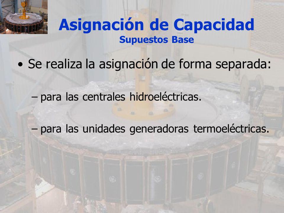 Asignación de Capacidad Supuestos Base Se realiza la asignación de forma separada: –para las centrales hidroeléctricas. –para las unidades generadoras