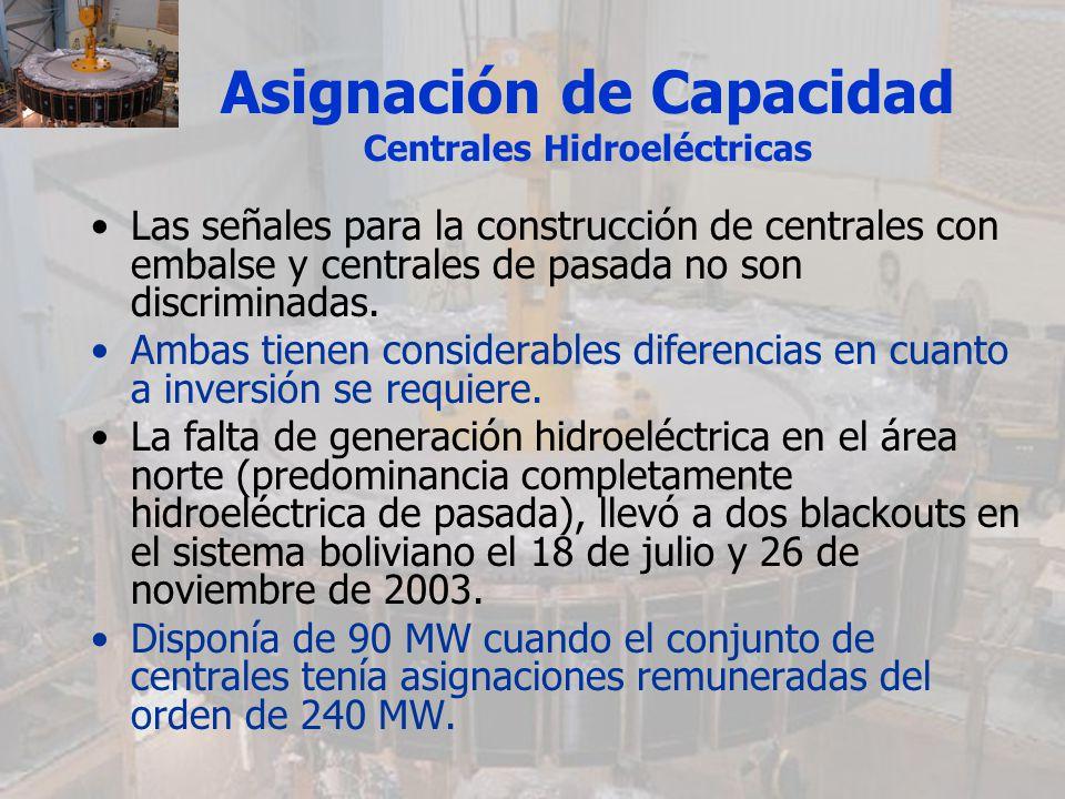 Asignación de Capacidad Centrales Hidroeléctricas Las señales para la construcción de centrales con embalse y centrales de pasada no son discriminadas