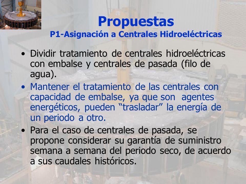 Propuestas P1-Asignación a Centrales Hidroeléctricas Dividir tratamiento de centrales hidroeléctricas con embalse y centrales de pasada (filo de agua)