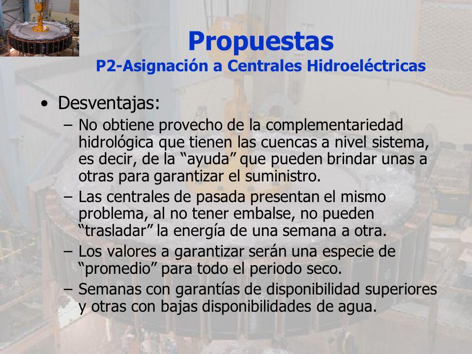 Propuestas P2-Asignación a Centrales Hidroeléctricas Desventajas: –No obtiene provecho de la complementariedad hidrológica que tienen las cuencas a ni