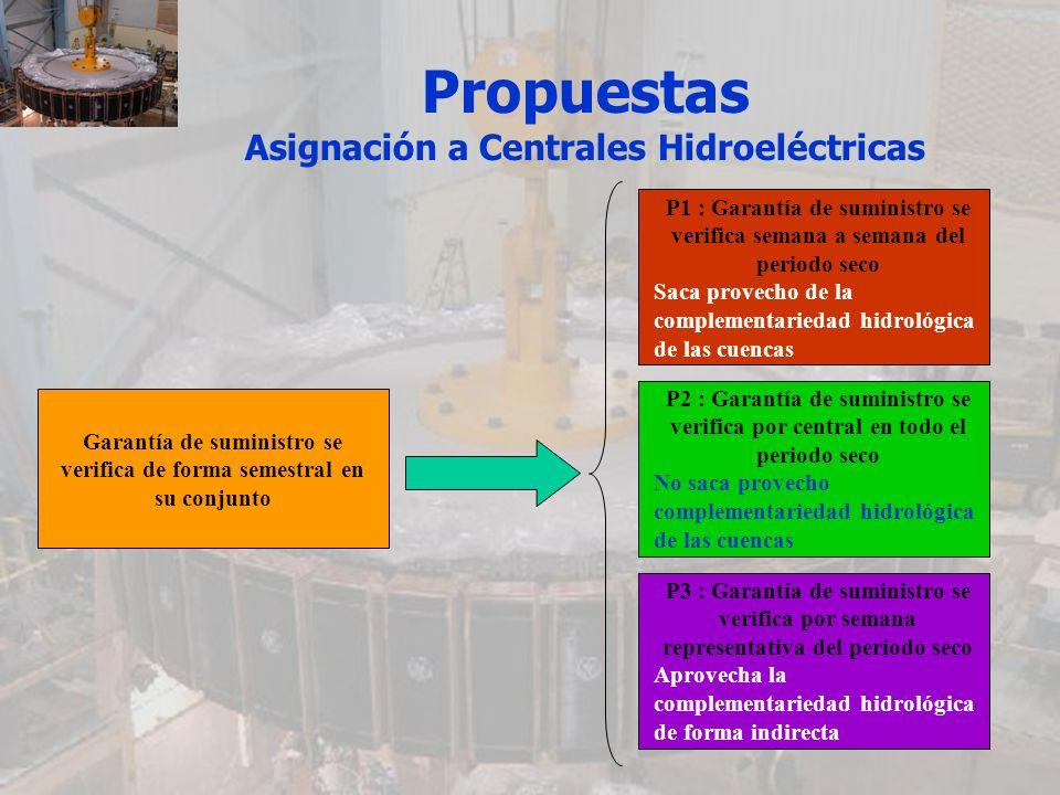 Propuestas Asignación a Centrales Hidroeléctricas Garantía de suministro se verifica de forma semestral en su conjunto P1 : Garantía de suministro se