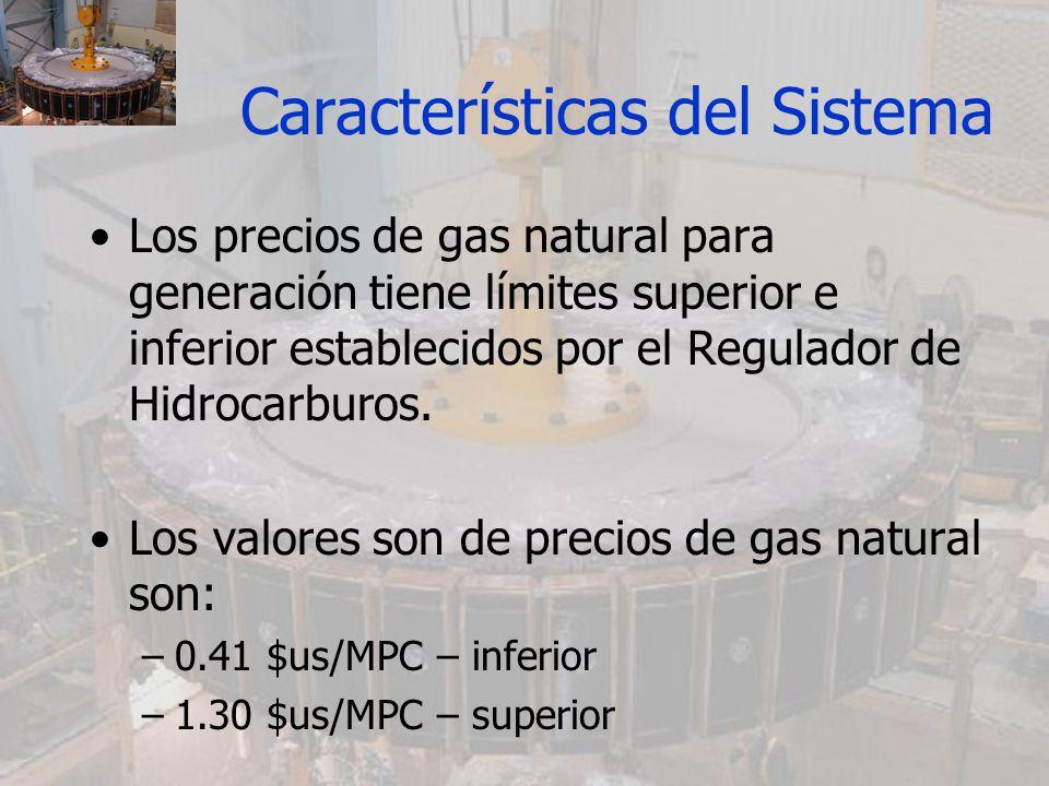 Los precios de gas natural para generación tiene límites superior e inferior establecidos por el Regulador de Hidrocarburos. Los valores son de precio