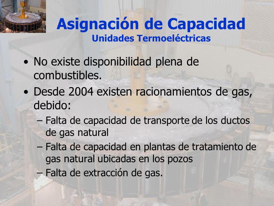 Asignación de Capacidad Unidades Termoeléctricas No existe disponibilidad plena de combustibles. Desde 2004 existen racionamientos de gas, debido: –Fa
