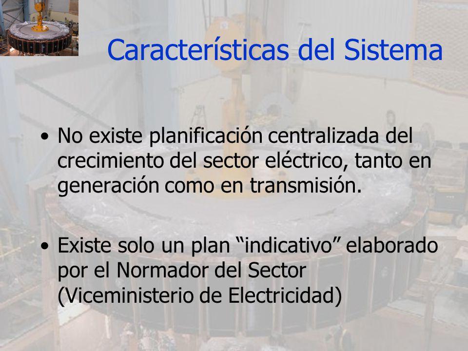 Características del Sistema No existe planificación centralizada del crecimiento del sector eléctrico, tanto en generación como en transmisión. Existe