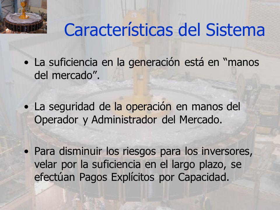 Características del Sistema El sistema de Pagos de Capacidad adoptado en Bolivia, fija las variables: –Precio de la potencia (denominado Precio Básico de la Potencia o PBP) –Cantidad de potencia a remunerar (denominada Potencia Firme o PF) Son fijados de forma centralizada, es decir a través de la regulación.
