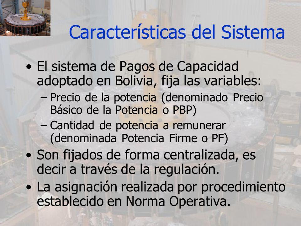 Características del Sistema El sistema de Pagos de Capacidad adoptado en Bolivia, fija las variables: –Precio de la potencia (denominado Precio Básico