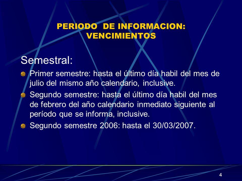 4 PERIODO DE INFORMACION: VENCIMIENTOS Semestral: Primer semestre: hasta el último día habil del mes de julio del mismo año calendario, inclusive.
