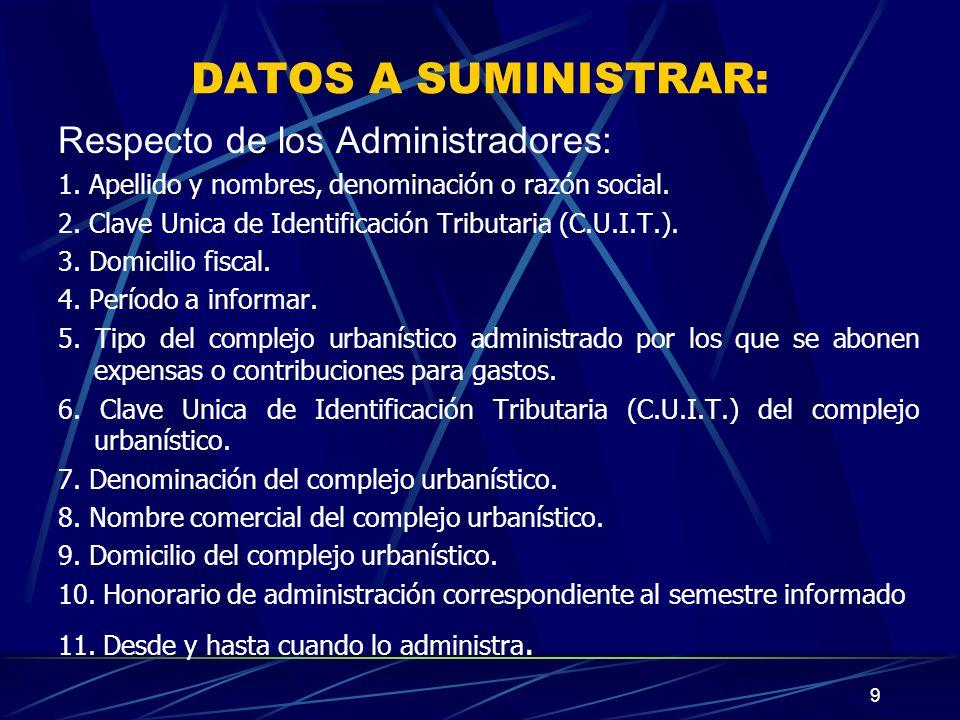 9 DATOS A SUMINISTRAR: Respecto de los Administradores: 1.
