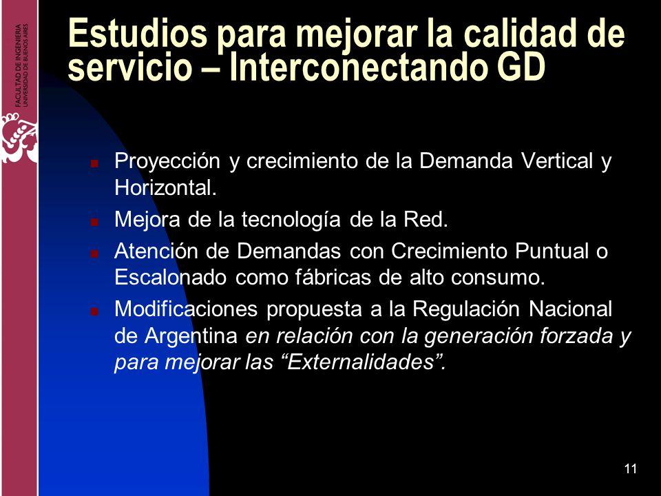 11 Estudios para mejorar la calidad de servicio – Interconectando GD Proyección y crecimiento de la Demanda Vertical y Horizontal. Mejora de la tecnol