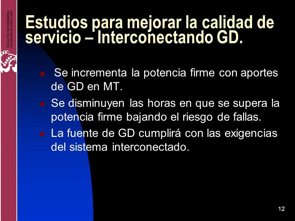 12 Estudios para mejorar la calidad de servicio – Interconectando GD. Se incrementa la potencia firme con aportes de GD en MT. Se disminuyen las horas