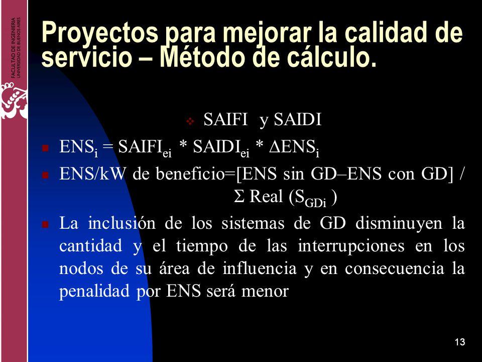 13 Proyectos para mejorar la calidad de servicio – Método de cálculo. SAIFI y SAIDI ENS i = SAIFI ei * SAIDI ei * ENS i ENS/kW de beneficio=[ENS sin G