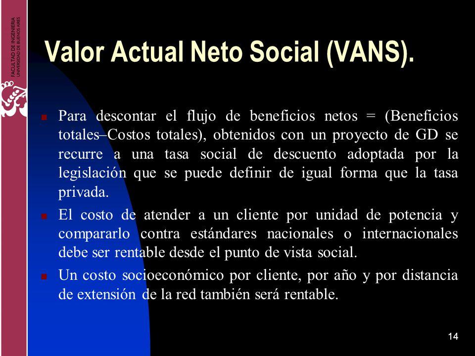 14 Valor Actual Neto Social (VANS). Para descontar el flujo de beneficios netos = (Beneficios totales–Costos totales), obtenidos con un proyecto de GD