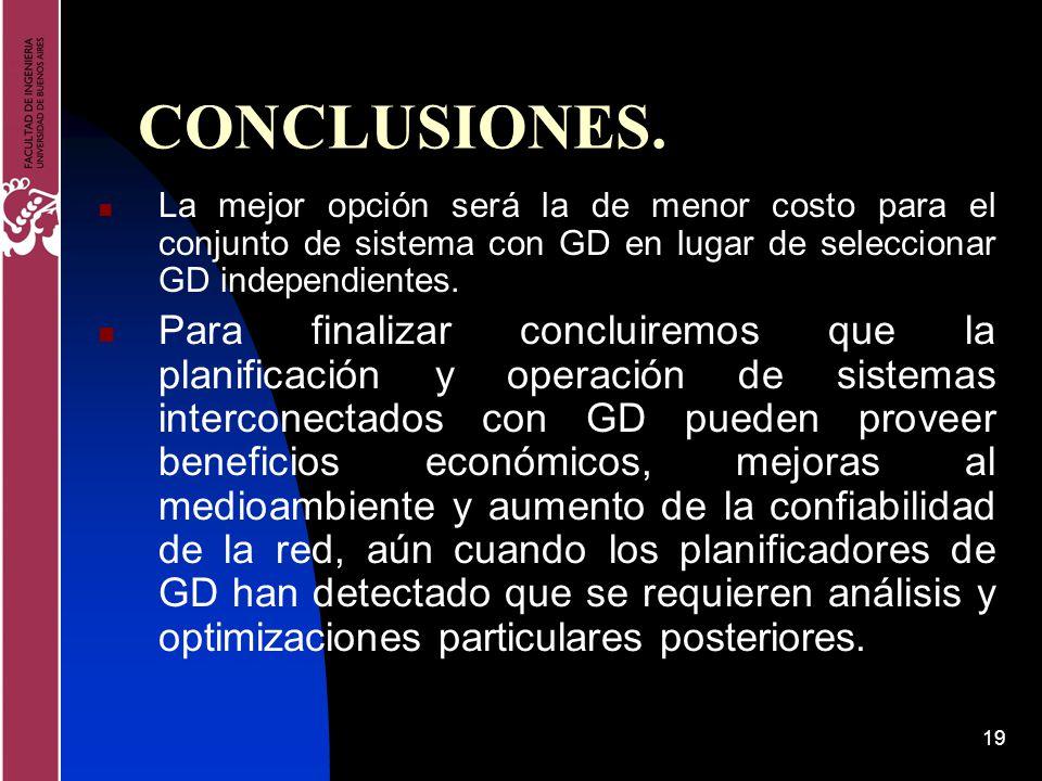 19 CONCLUSIONES. La mejor opción será la de menor costo para el conjunto de sistema con GD en lugar de seleccionar GD independientes. Para finalizar c
