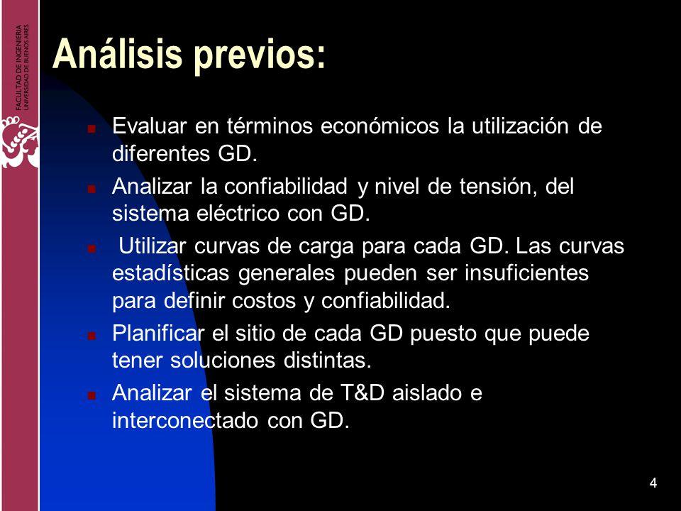 4 Análisis previos: Evaluar en términos económicos la utilización de diferentes GD. Analizar la confiabilidad y nivel de tensión, del sistema eléctric