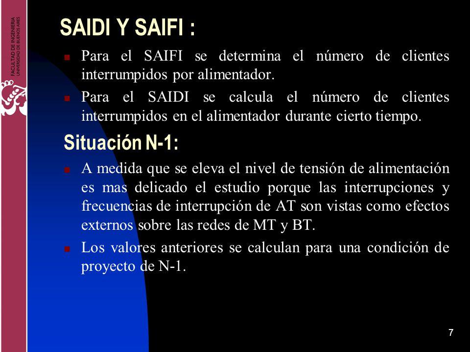 7 SAIDI Y SAIFI : Para el SAIFI se determina el número de clientes interrumpidos por alimentador. Para el SAIDI se calcula el número de clientes inter