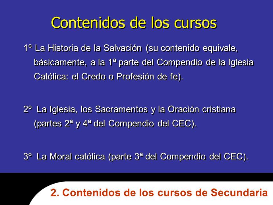 Contenidos de los cursos 1º La Historia de la Salvación (su contenido equivale, básicamente, a la 1ª parte del Compendio de la Iglesia Católica: el Credo o Profesión de fe).