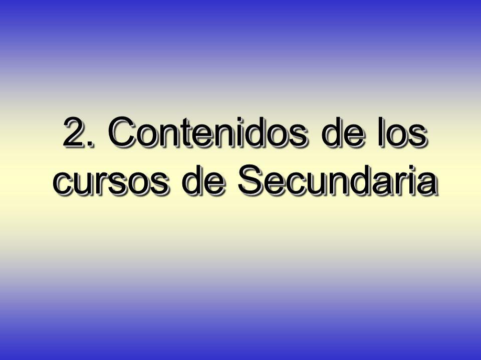 2. Contenidos de los cursos de Secundaria