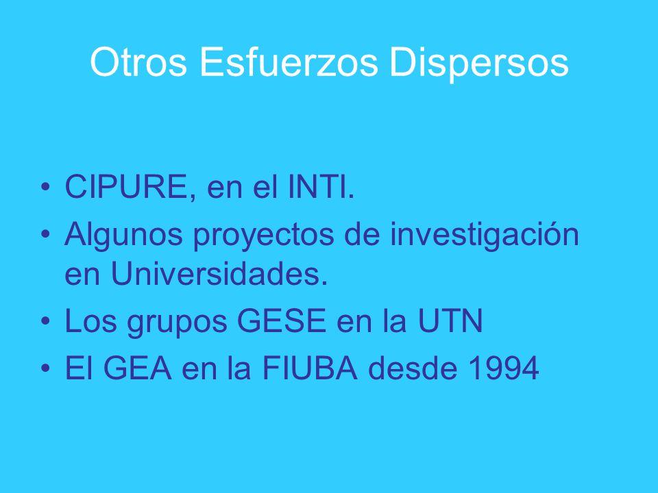 Otros Esfuerzos Dispersos CIPURE, en el INTI. Algunos proyectos de investigación en Universidades. Los grupos GESE en la UTN El GEA en la FIUBA desde