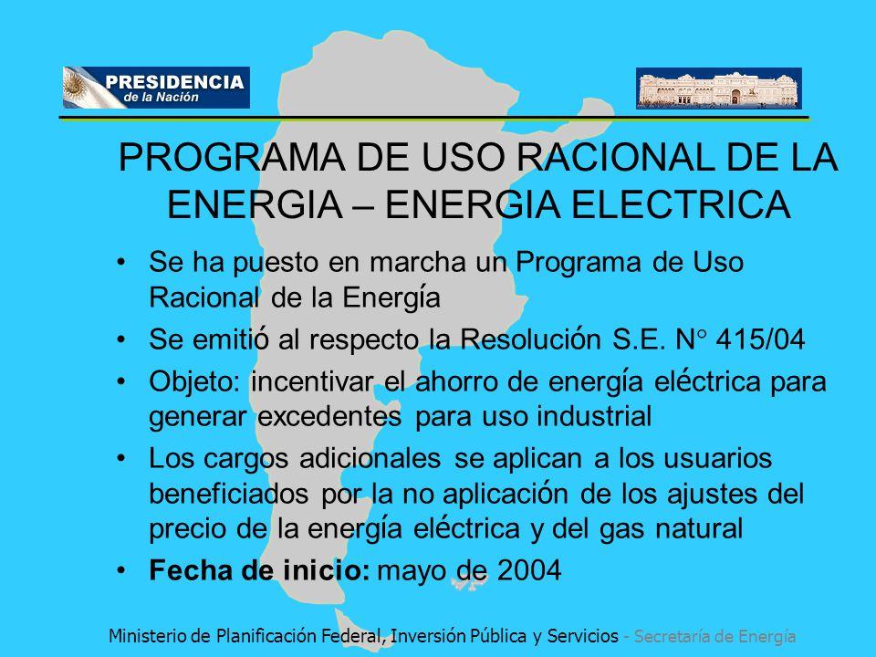 Se ha puesto en marcha un Programa de Uso Racional de la Energ í a Se emiti ó al respecto la Resoluci ó n S.E. N° 415/04 Objeto: incentivar el ahorro